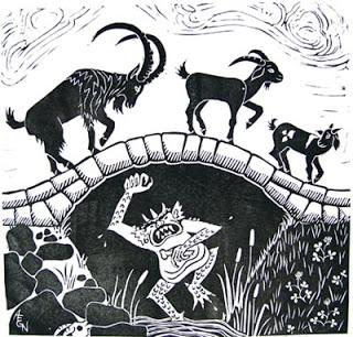 Troll & Goats woodcut